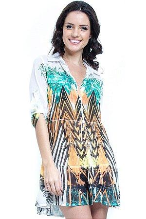 Vestido Chemise Evase Babados Crepe Estampa Gráfica Laranja