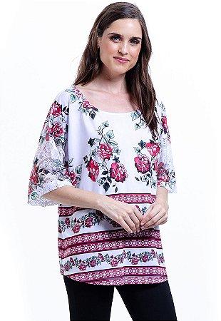 Blusa Tunica Ampla Malha Fria Floral Vermelho Branco