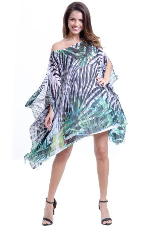 Kaftan Vestido Crepe Ombro a Ombro Zebra Preto e Verde