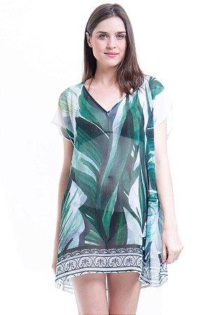Blusa Tunica Decote V Crepe Estampada Folhas Verdes