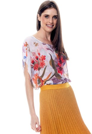 Blusa Poncho Decote Careca Crepe Floral Branco Vermelho