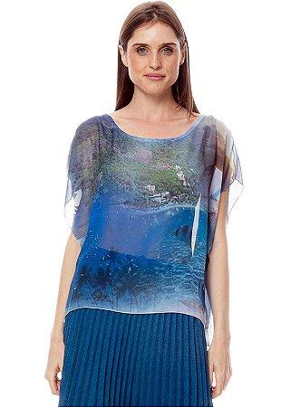 Blusa Poncho Decote Careca Crepe Estampado Azul