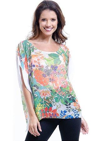 Blusa Poncho Decote Careca Crepe Floral Estampado Verde Laranja