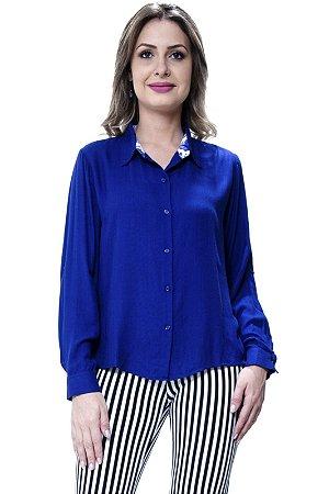 Camisa Lisa Viscose Azul