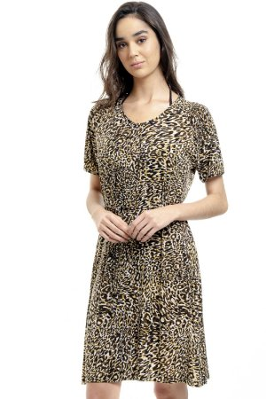 Vestido Evasê Raglan Malha Fria Onçinha Animal Print