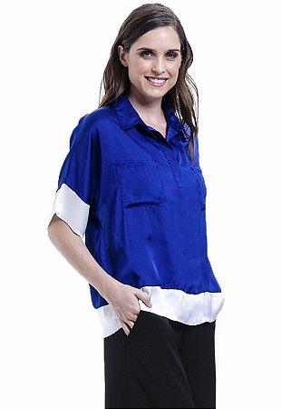 Camisa Polo Bicolor Azul Branco