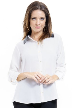Camisa Gola de Couro Off-white