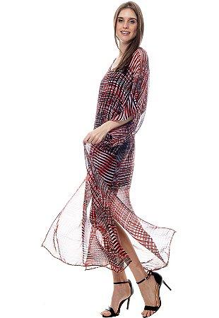 Vestido Kaftan Longo Crepe Estampado Geometrico Vermelho