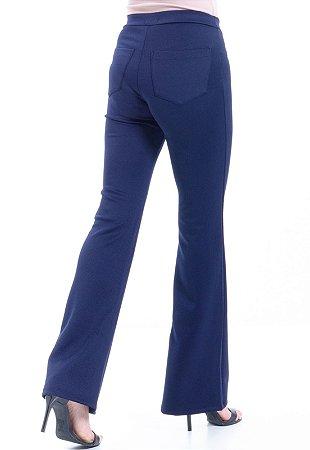Calça Flare Elastano Neoprene Azul Marinho Bolsos