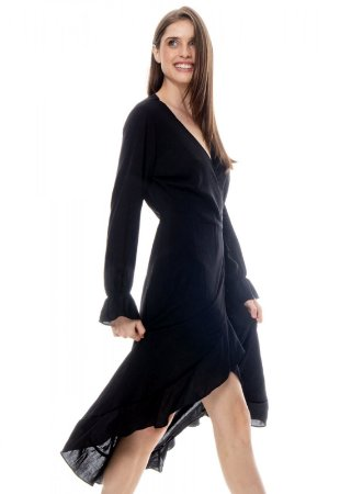 Vestido ENVELOPE Midi BABADOS Manga Longa Viscose Lisa Preta