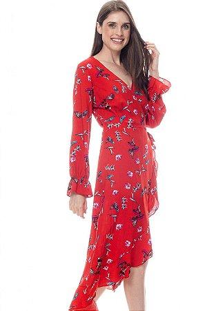 Vestido ENVELOPE Midi BABADOS Manga Longa Viscose Estampada Vermelha