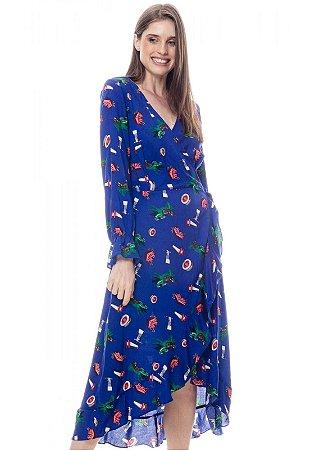 Vestido ENVELOPE Midi BABADOS Manga Longa Viscose Estampada Azul