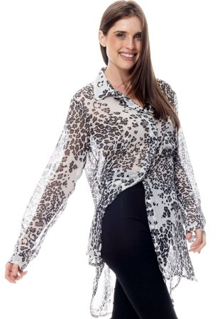 Vestido Chemise  Crepe Estampado Onça Preto Branco