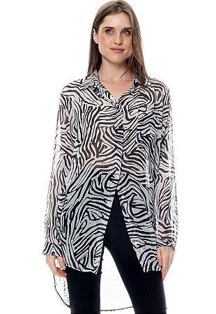 Vestido Chemise Crepe Estampado Zebra Preto Branco