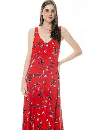 Vestido Longo com Saia em Pontas Viscose Estampada Borboletas Fundo Vermelho