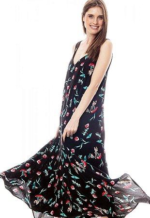 Vestido Longo com Saia em Pontas Viscose Estampada Borboletas Fundo Preto