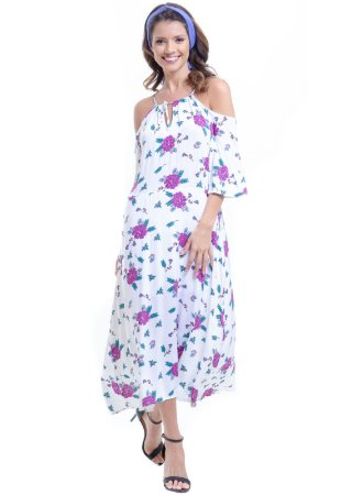 Vestido Forrado Alças Ombros Vazados Viscose Estampada Floral