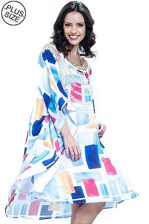 Vestido Kaftan Decote Bordado Plus Size Geométrico Azul