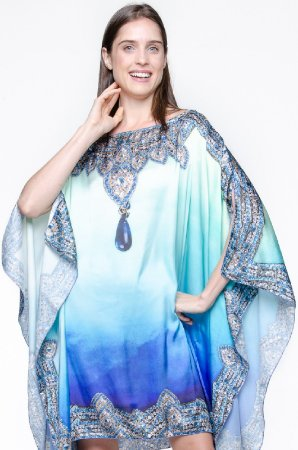 Kaftan Vestido Crepe Estampado Tie Dye Joias Azul