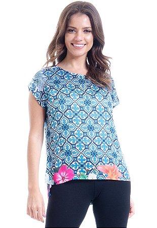 Blusa Cropped Cetim Estampa Floral Barrado Azul