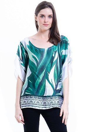 Blusa Poncho Cetim Estampado Folhas Verde