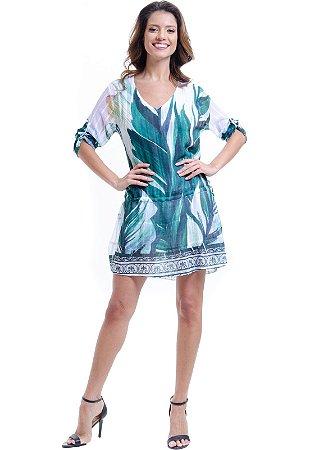 Vestido Mangas 3/4 Saia Evase com Babados Crepe Estampado Folhas Verde