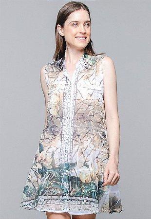 Vestido Chemise Evasê Estampado Tiedye Animal Print