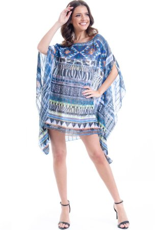Kaftan Vestido Crepe Plus Size Estampado Animal Print
