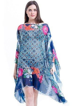 Kaftan Vestido Saida Crepe Estampado Floral Azul