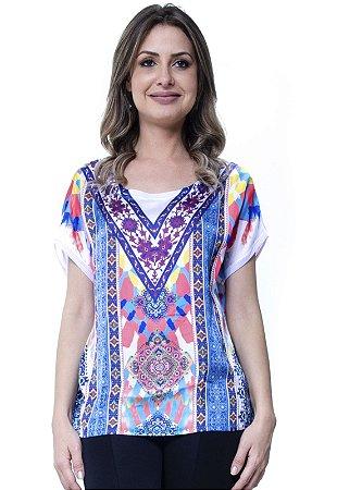 Blusa Estamapada Basica Étnico Azul