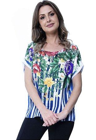 Blusa Estampada Basica Listrado Floral