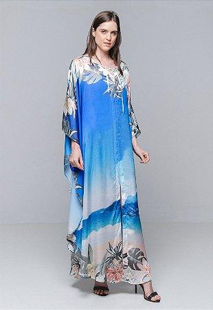 Kaftan Vestido Longo Paisagem Azul