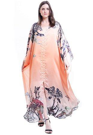 Vestido Kaftan Longo Estampado Coral
