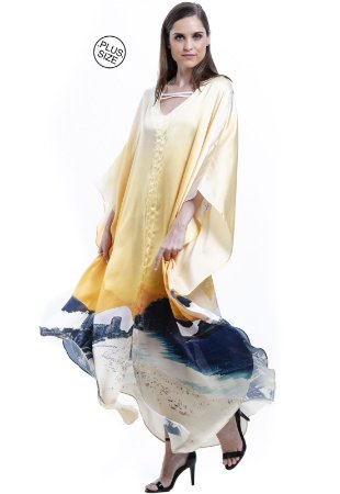 Vestido Longo Kaftan Cetim Estampa Rio de Janeiro Amarelo