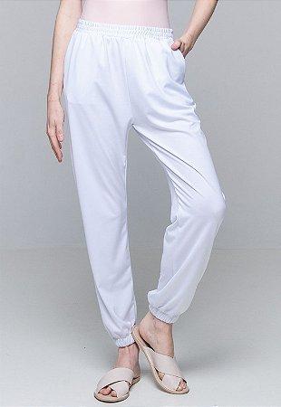 Calça Jogger Pijama Bolsos Cordao Malha Elastano Branco