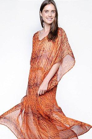 Vestido Kaftan Longo Crepe Estampado Animal Print Laranja Preto