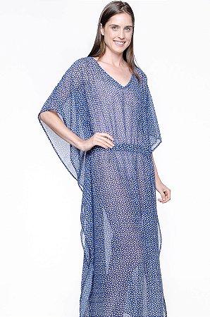 Vestido Kaftan Longo Crepe Floral Liberty Azul