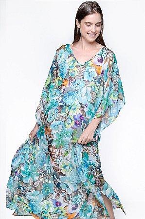 Vestido Kaftan Longo Crepe Floral Az Marrom
