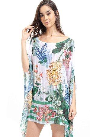 Vestido Kaftan Crepe Ombro a Ombro Estampado  Floral Verde