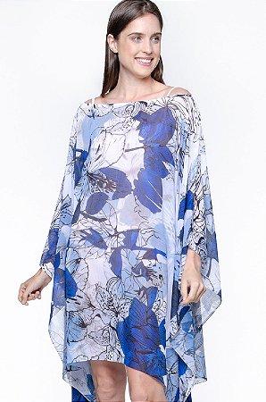 Kaftan Vestido Saida Crepe Estampado Folhas Azul