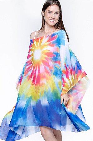 Kaftan Vestido Crepe Saida de Praia Tie Dye Colorido