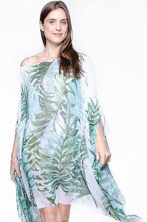 Kaftan Vestido Crepe Saida de Praia Folhas Verdes