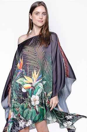 Kaftan Vestido Crepe Estampado Tropical Preto