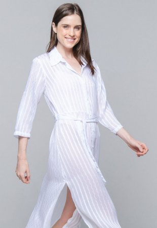 Vestido Chemise 101 Resort Wear Midi Evase Crepe Listrado