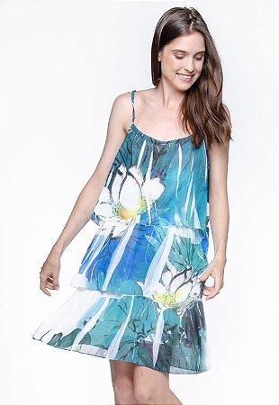 Vestido Curto Crepe Evasê Com Babados Estampado Flor Azul