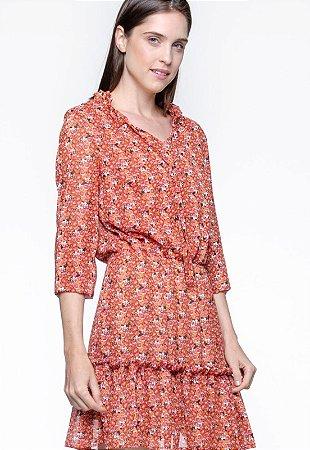 Vestido 101 Resort Wear Forrado Curto BABADOS Manga Longa CREPE Estampado Verm Flor