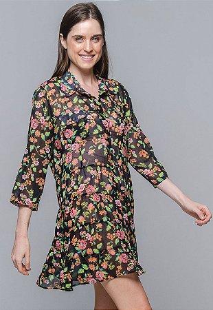 Vestido Chemise Evasê Estampado Floral