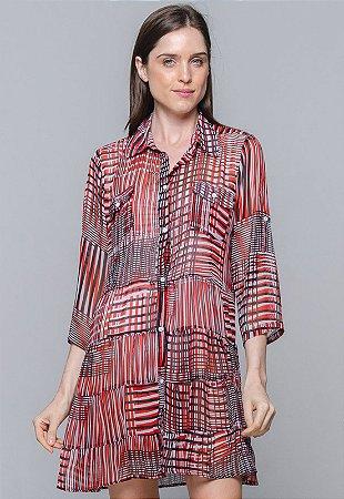 Vestido Chemise Evasê Estampado Geometrico Verm