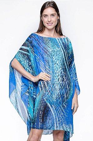 Kaftan Vestido Crepe Estampado Animal Print Azul