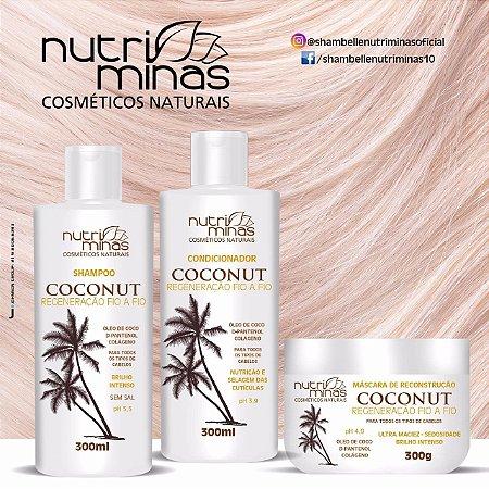 Kit Nutriminas coconut sampoo, Condicionador e Máscara com Óleo de Coco Purríssimo